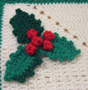 crochet holly leaf written instructions