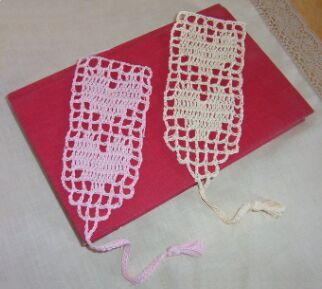 crochet heart bookmarks
