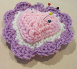 heart crochet pin cushion