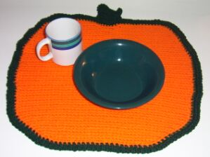 crochet pumpkin placemat