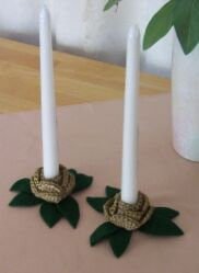 crochet rose candle holders