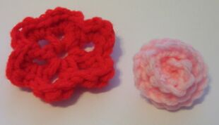 crochet rose and rosette
