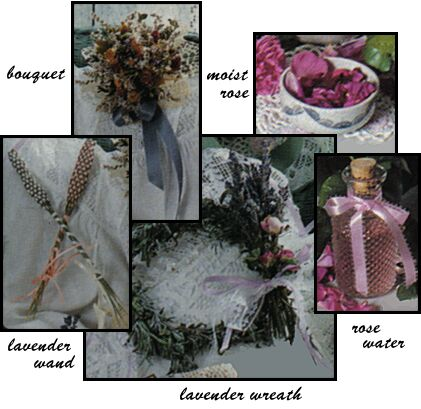potpourri bouquet, moist rose, lavender wand, lavender wreath, rose water