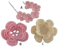 Little flowers with leaves - free crochet pattern