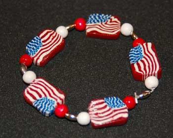 Fourth of July clay bracelet image 1