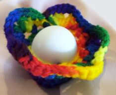 crochet Easter egg cozy colored