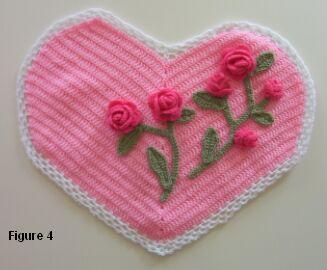 crochet sweetheart pillow rose placement